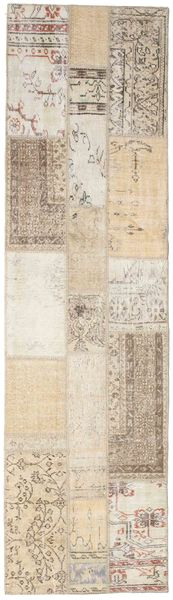 Patchwork Rug 82X299 Authentic  Modern Handknotted Hallway Runner  Light Grey/Beige (Wool, Turkey)