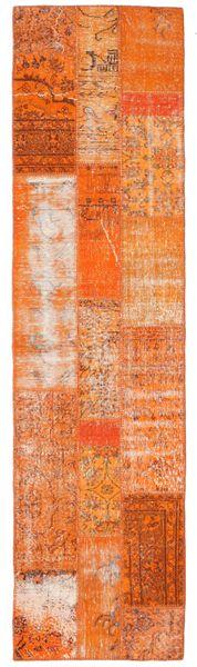 パッチワーク 絨毯 80X305 モダン 手織り 廊下 カーペット オレンジ/薄茶色 (ウール, トルコ)