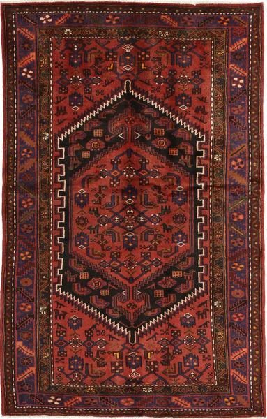 Hamadán Szőnyeg 130X214 Keleti Csomózású Sötétpiros/Sötétbarna (Gyapjú, Perzsia/Irán)