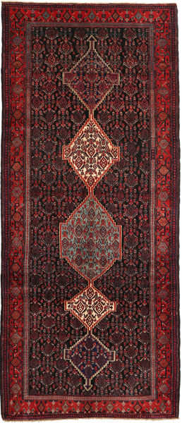 Senneh Rug 135X321 Authentic  Oriental Handknotted Hallway Runner  Dark Red/Dark Brown (Wool, Persia/Iran)