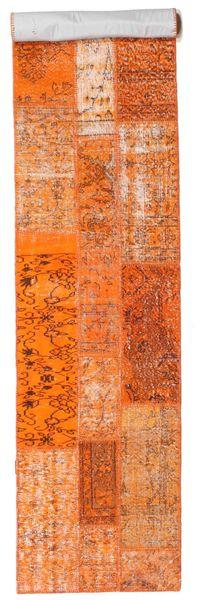 Patchwork Teppe 79X394 Ekte Moderne Håndknyttet Teppeløpere Orange/Lysbrun (Ull, Tyrkia)