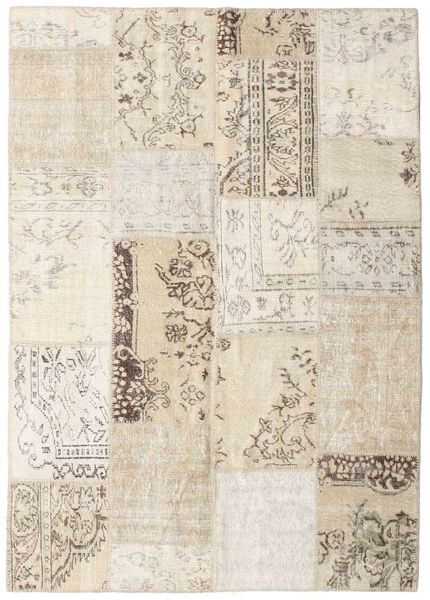 Patchwork Rug 162X228 Authentic  Modern Handknotted Light Grey/Beige (Wool, Turkey)
