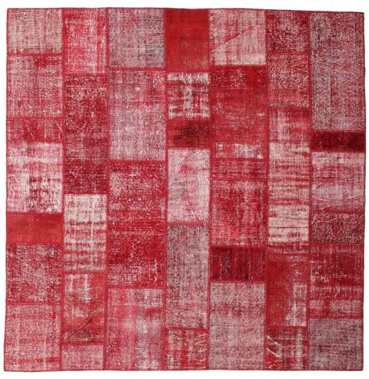 Patchwork Rug 254X254 Authentic  Modern Handknotted Square Crimson Red/Purple Large (Wool, Turkey)