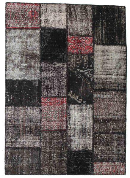 Patchwork Matto 141X198 Moderni Käsinsolmittu Vaaleanharmaa/Musta/Tummansininen (Villa, Turkki)