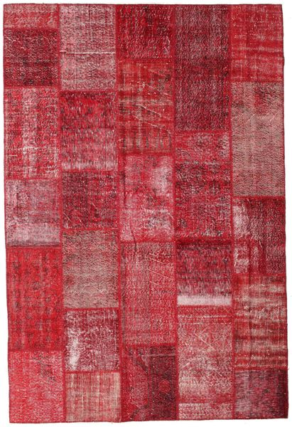 Patchwork Matto 202X300 Moderni Käsinsolmittu Punainen/Ruoste (Villa, Turkki)