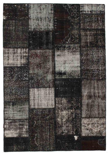 Patchwork Alfombra 161X232 Moderna Hecha A Mano Negro/Gris Oscuro (Lana, Turquía)