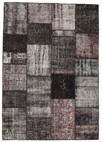 Patchwork Rug 163X230 Authentic  Modern Handknotted Dark Brown/Dark Grey (Wool, Turkey)