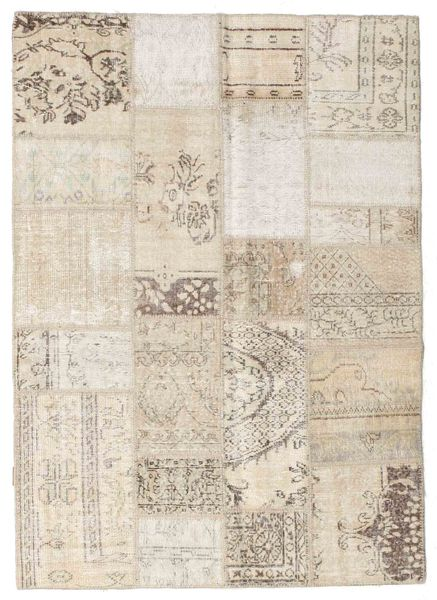 Patchwork Rug 143X200 Authentic  Modern Handknotted Light Brown/Beige/Light Grey (Wool, Turkey)