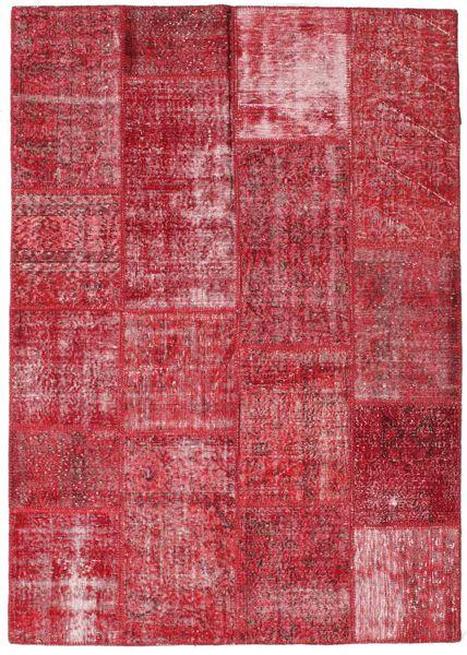 Patchwork Matto 161X228 Moderni Käsinsolmittu Punainen/Ruoste (Villa, Turkki)