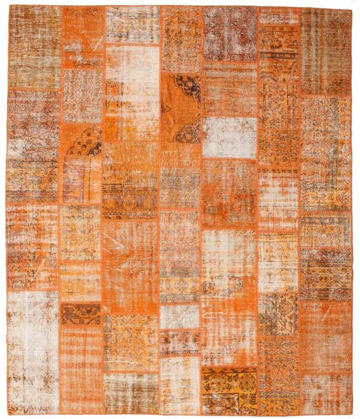 Patchwork Matto 250X298 Moderni Käsinsolmittu Vaaleanruskea/Oranssi Isot (Villa, Turkki)