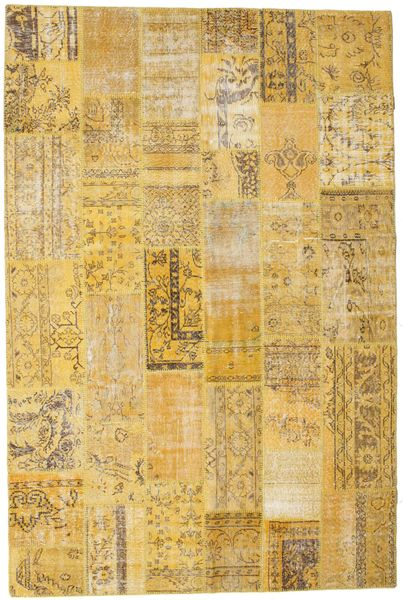 Patchwork Rug 202X304 Authentic  Modern Handknotted Yellow/Light Brown (Wool, Turkey)