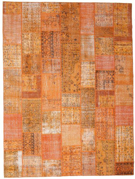 Patchwork Matto 272X368 Moderni Käsinsolmittu Oranssi/Vaaleanruskea Isot (Villa, Turkki)