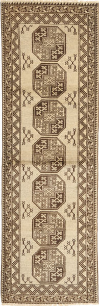 Afghan Natural Rug 87X292 Authentic  Oriental Handknotted Hallway Runner  Light Brown/Dark Beige (Wool, Afghanistan)