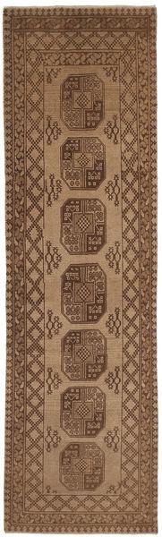 Afghan Rug 78X285 Authentic  Oriental Handknotted Hallway Runner  Brown/Light Brown (Wool, Afghanistan)