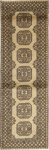 Afghan Natural Rug 83X279 Authentic  Oriental Handknotted Hallway Runner  Light Brown/Dark Brown (Wool, Afghanistan)