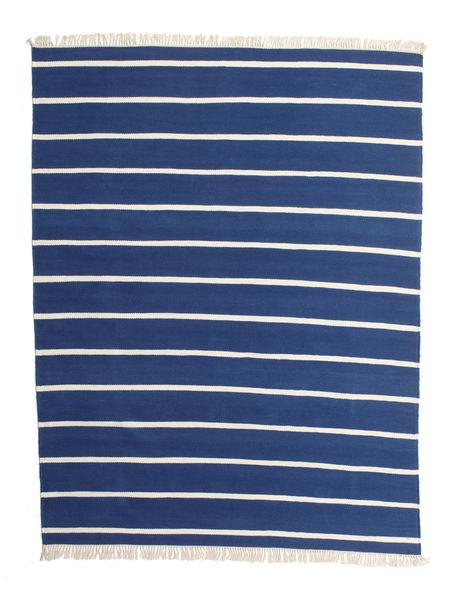 Dhurrie Stripe - Dark Blue Rug 200X250 Authentic  Modern Handwoven Blue/Beige (Wool, India)