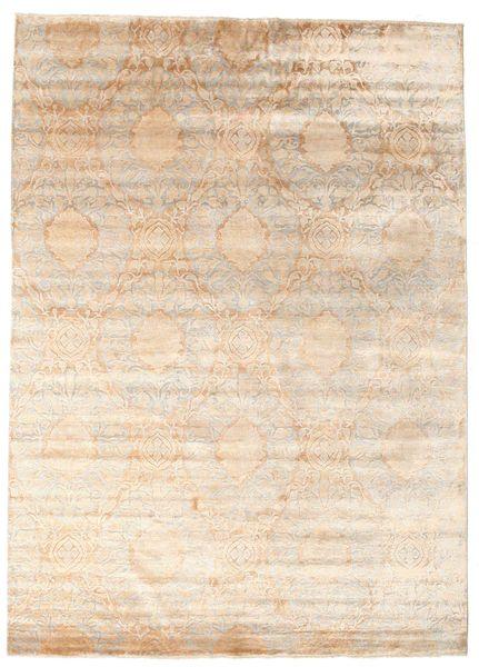 Damask Matto 235X296 Moderni Käsinsolmittu Beige/Vaaleanruskea ( Intia)