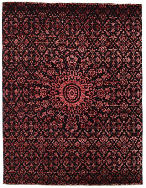 Damask Matto 236X306 Moderni Käsinsolmittu Tummanruskea/Tummanpunainen ( Intia)