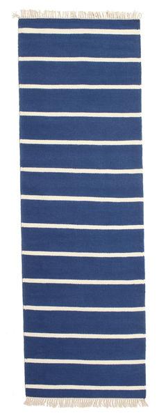 Dorri Stripe - Donkerblauw Tapijt 80X300 Echt Modern Handgeweven Tapijtloper Blauw/Beige (Wol, India)