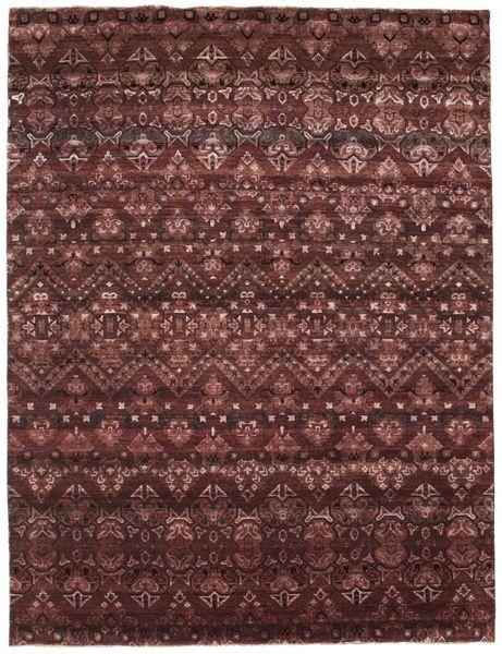 Damask Rug 234X308 Authentic  Modern Handknotted Dark Red/Dark Brown ( India)