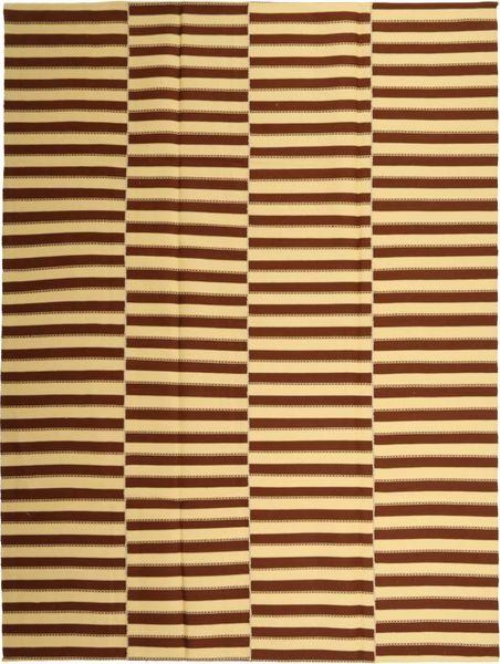 Kilim Modern Szőnyeg 230X310 Modern Kézi Szövésű Sötétbarna/Sötét Bézs/Sárga (Pamut, Perzsia/Irán)