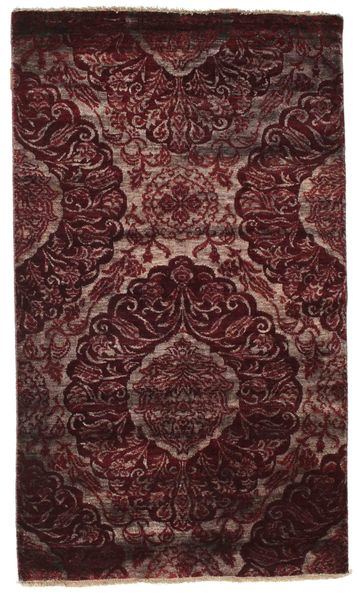 Damask Tappeto 100X169 Moderno Fatto A Mano Marrone Scuro/Rosso Scuro ( India)