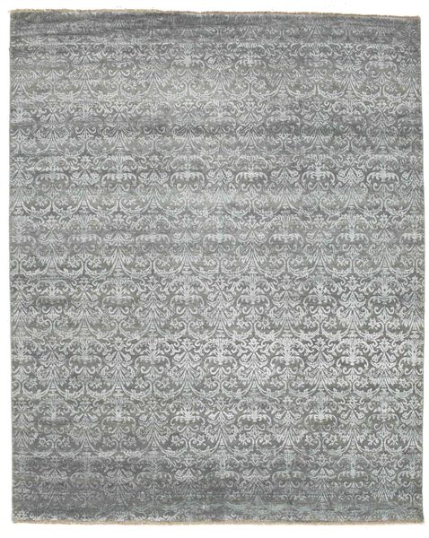 Damask Rug 253X310 Authentic  Modern Handknotted Light Grey/Beige Large ( India)