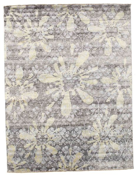 Damask Rug 239X311 Authentic  Modern Handknotted Light Grey ( India)