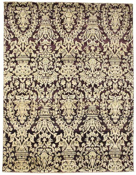 Damask 絨毯 228X299 モダン 手織り ベージュ/濃い茶色 ( インド)