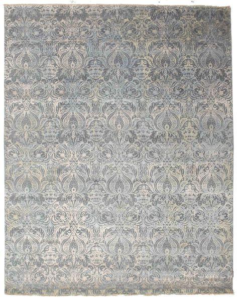 Damask Rug 244X309 Authentic  Modern Handknotted Light Grey/Dark Grey ( India)