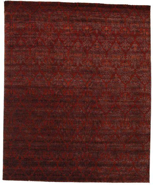 Damask Vloerkleed 245X301 Echt Modern Handgeknoopt Donkerrood/Donkerbruin ( India)