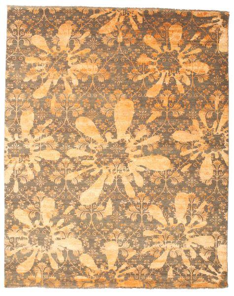 Damask Matto 237X295 Moderni Käsinsolmittu Vaaleanruskea/Tummanbeige ( Intia)