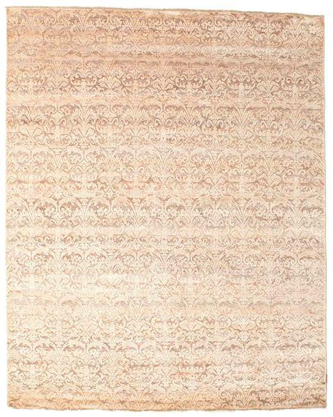 Damask Matto 239X296 Moderni Käsinsolmittu Beige/Vaaleanpunainen ( Intia)