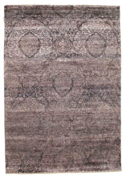 Damask Alfombra 167X238 Moderna Hecha A Mano Marrón Oscuro/Violeta Claro ( India)