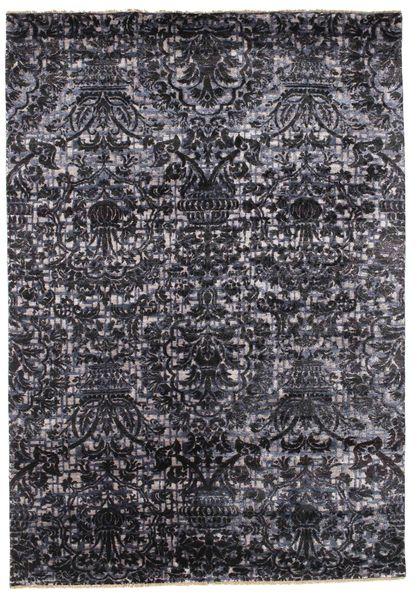 Damask Matto 169X243 Moderni Käsinsolmittu Tummanharmaa/Musta ( Intia)