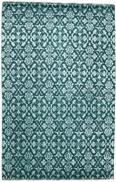 Damask Rug 201X313 Authentic  Modern Handknotted Dark Turquoise  /Turquoise Blue ( India)