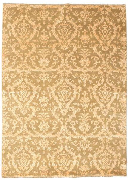 Damask Matto 176X241 Moderni Käsinsolmittu Tummanbeige/Vaaleanruskea ( Intia)