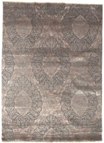 Damask Tapete 176X243 Moderno Feito A Mão Cinzento Claro/Cinza Escuro ( Índia)