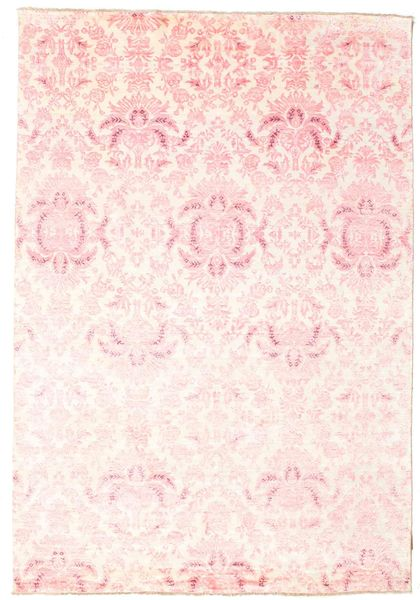 Damask Rug 166X241 Authentic  Modern Handknotted Beige/Light Pink ( India)