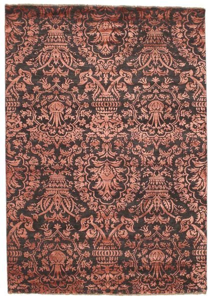 Damask Rug 172X245 Authentic  Modern Handknotted Brown/Dark Brown ( India)