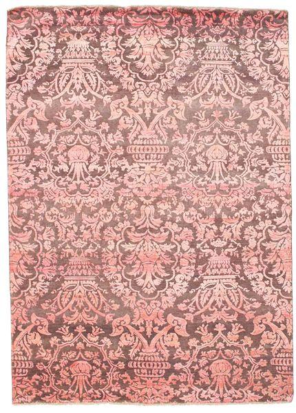 Damask Matto 175X246 Moderni Käsinsolmittu Vaaleanpunainen/Violetti ( Intia)