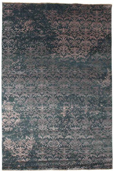 Damask Koberec 202X305 Moderní Ručně Tkaný Tmavošedý/Tmavě Modrý ( Indie)