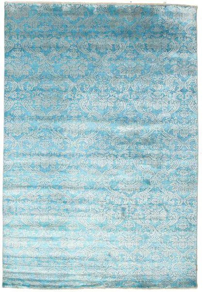 Damask Vloerkleed 204X299 Echt Modern Handgeknoopt Lichtblauw/Turquoise Blauw ( India)