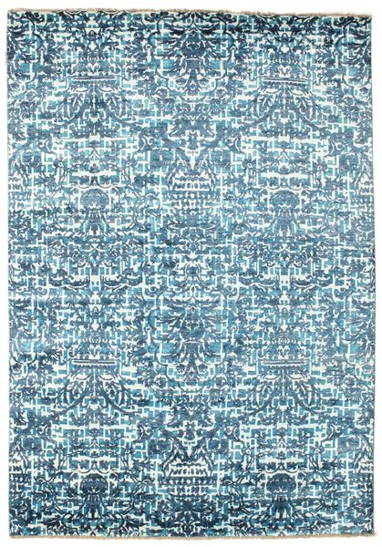 Damask Rug 170X244 Authentic  Modern Handknotted Light Blue/Beige ( India)