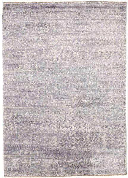 Damask Vloerkleed 175X246 Echt Modern Handgeknoopt Lichtgrijs/Wit/Creme ( India)