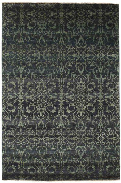 Damask Matto 171X260 Moderni Käsinsolmittu Tummanvihreä/Tummanharmaa ( Intia)