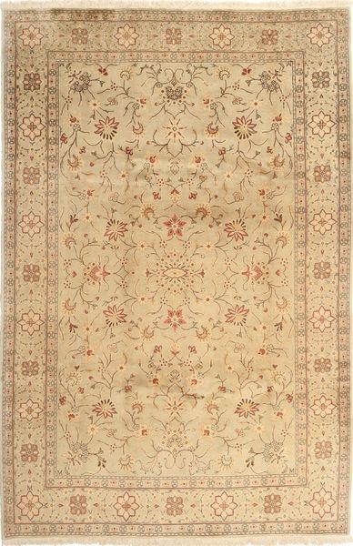 Yazd Teppich  201X302 Echter Orientalischer Handgeknüpfter Dunkel Beige/Hellbraun (Wolle, Persien/Iran)