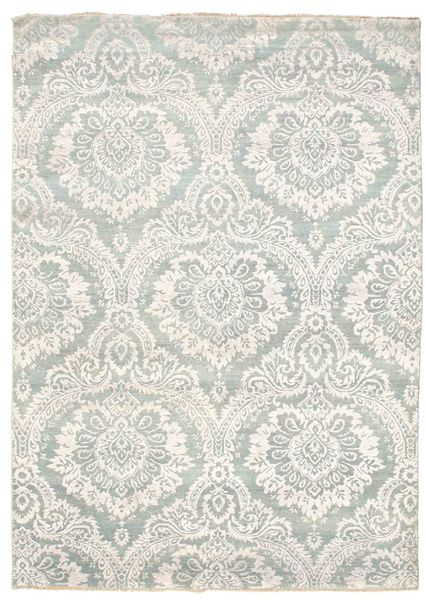 Damask Alfombra 176X246 Moderna Hecha A Mano Gris Claro/Beige ( India)