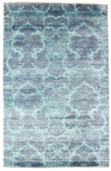 Damask 絨毯 196X303 モダン 手織り 水色/ターコイズブルー ( インド)