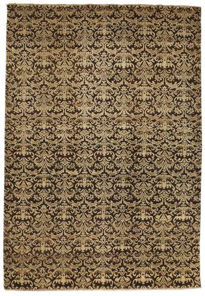 Damask Matto 198X288 Moderni Käsinsolmittu Vaaleanruskea/Musta ( Intia)